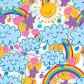 Sun cloud rainbow naive gold glitter seamless pattern Royalty Free Stock Photo