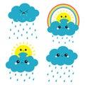 Sun, cloud, rainbow, rain set. Smiling sad face. Rain drop weather. Friends forever. Fluffy clouds. Cute cartoon cloudscape.