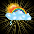Sun and clouds design elements Royalty Free Stock Photo