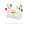 Sun in the clouds with hilarious balloons for your ideas eps Stock Photography
