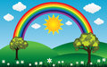 Sun and clouds with rainbow landscape