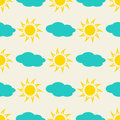 Sun and clouds in the sky seamless background Royalty Free Stock Photo