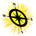 Sun with compass isolated on white background Royalty Free Stock Photo