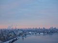 Sun down in your city, Kiev, Ukraine. Big city life. Village panorama Royalty Free Stock Photo