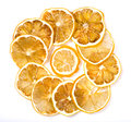 Sun dried dried lemon close up on a white background Stock Images