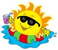 Sun with drink in water Royalty Free Stock Photo