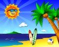 Sun e divertimento na praia Foto de Stock Royalty Free