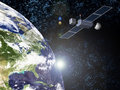 Sun earth and satellite Royalty Free Stock Photo