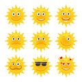 Sun emoticons vector collection