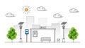 Sun energy sidewalk vector illustration