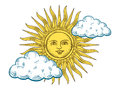 Sun with face engraving style vector illustration Royalty Free Stock Photo