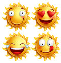 Sun face with funny facial expressions for summer