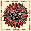 Sun face red and black woodcut Royalty Free Stock Photo