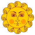 Sun with face yellow vector isolated illustration Royalty Free Stock Images