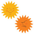 Sun faces, retro cartoon style Royalty Free Stock Photography
