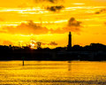 The Sun Firing the Sky at the Jupiter Lighthouse Royalty Free Stock Photo