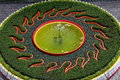 Sun flame shape fountain pool located at garden of taoist temple in taiwan it means fire and water yin and yang Stock Images