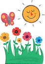 Sun flowers and butterfly children s illustrations perfect for use in birthday party invitations designs Stock Image