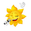 Sun with freckles is singing isolated on white background Royalty Free Stock Photo