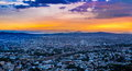 Sun going down over the city of Queretaro Mexico. Royalty Free Stock Photo