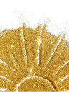 The sun of golden glitter sparkle on white background Royalty Free Stock Photo