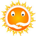Sun with hands a vector drawing represents design Royalty Free Stock Image