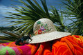 Sun Hat, Beach Towel, and Sunglasses Stock Photo