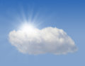 Sun hiding behind the cloud sky Royalty Free Stock Image