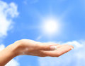 Sun on human hand Royalty Free Stock Images