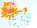 Sun with ice cream Royalty Free Stock Photo