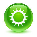 Sun icon glassy green round button