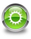 Sun icon glossy green round button Royalty Free Stock Photo