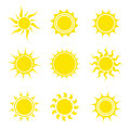 Sun icon set. Collection of abstract elements. Vector illustration Royalty Free Stock Photo