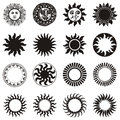 Sun icon set of vector Stock Photos