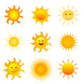 Sun icon set on white background Stock Image