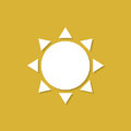 Sun icon with shadow in a flat design on a yellow background
