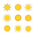 Sun icon sign set collection flat symbol, Vector illustration Royalty Free Stock Photo
