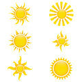 Sun icons different on white background Stock Image