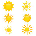 Sun icons different on white background Stock Photos