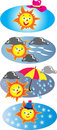 Sun icons four vector illustrations the has got his hat on wind and showers pouring rain rain clouds and a red and yellow Stock Photo