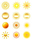 Sun icons set of abstract illustration Royalty Free Stock Images