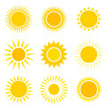 Sun icons set collection vector illustration Royalty Free Stock Photography