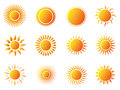 Sun icons set Royalty Free Stock Photo