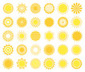 Sun icons set of isolated on white background vector illustration Stock Photos
