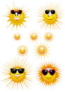 Sun icons. Sunglasses Royalty Free Stock Images