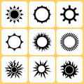 Sun icons various set illustration Stock Image