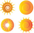 Sun icons various on white background Royalty Free Stock Photos
