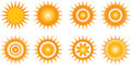 Sun icons various on white background Stock Photos