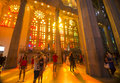 Sun illuminating inside sagrada familia and people the the of the making different colors shapes taking pictures Royalty Free Stock Image