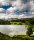Sun illuminating langdale pikes loughrigg tarn foreground Royalty Free Stock Images